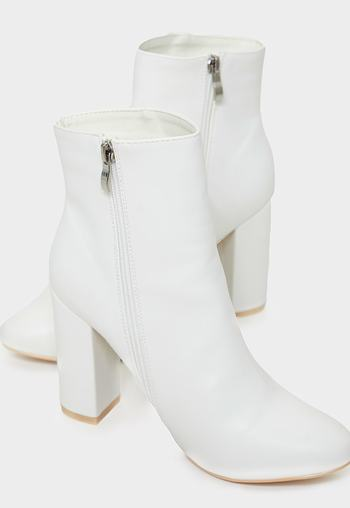 White faux snake ankle boot   Insyze