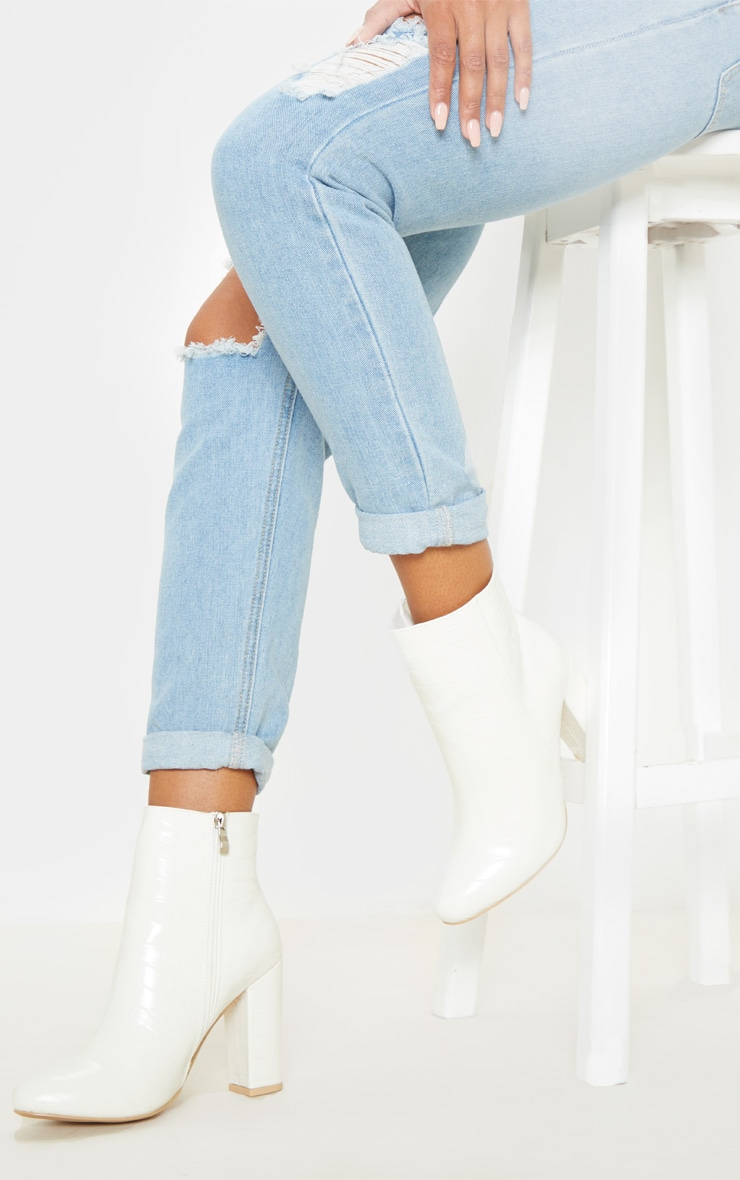 White croc behati ankle boot | Insyze